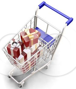 25246-Clipart-Illustration-Of-Wrapped-Christmas-Presents-In-A-Metal-Shopping-Cart-With-A-Blue-Handle-1