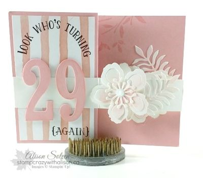 Number of years botanical blooms fancy fold card www.stampcrazywithalison.ca