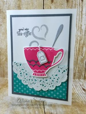 A Nice Cuppa Stamp Set  Cups & Kettle Framelits Dies www.stampcrazywithalison.ca
