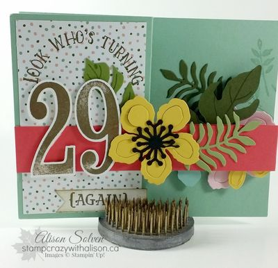 Elaine's fancy fold card botanical blooms