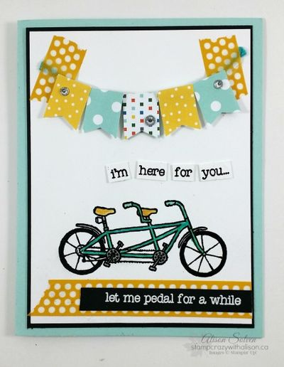 Pedal pusher stamp set sale-a-bration pennant www.stampcrazywithalison.ca