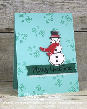 Christmas Card Stamped with Let It Snow Stamp Set by stampin up Card