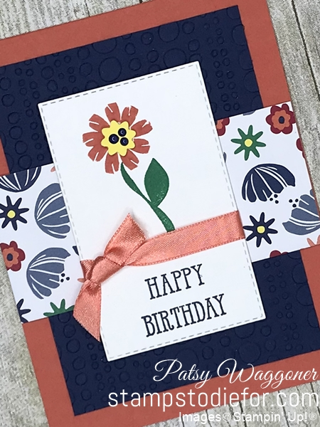 Card from our Border Buddy Free PDF Tutorial using the Bloom by Bloom stamp set and Rectangle Stitched Framelits and Occasions Ribbon #stampinup #bloombybloom slant