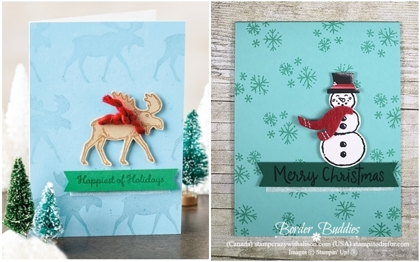 Christmas Card Stamped with Let It Snow Stamp Set by stampin up-horz