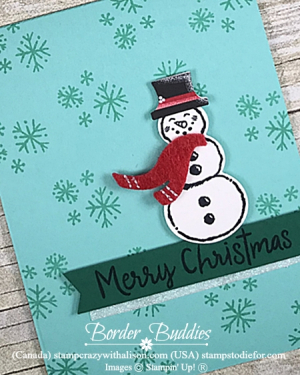 Christmas Card Stamped with Let It Snow Stamp Set by stampin up 2