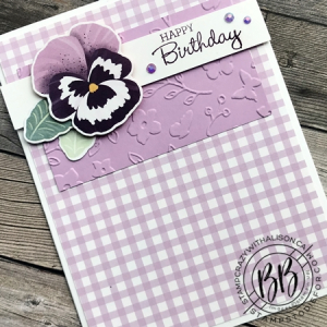 Sunday Sketch Card using the Pansy Patch stamp set Pansy Petal Designer Paper Meadow Moments embossing folder and the Pansy by Stampin' Up!
