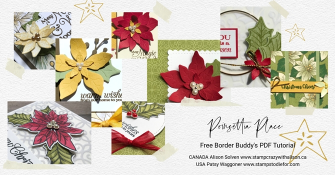 September Border Buddy Free PDF Tutorial Card using Poinsettia Dies by Stampin' Up! collage