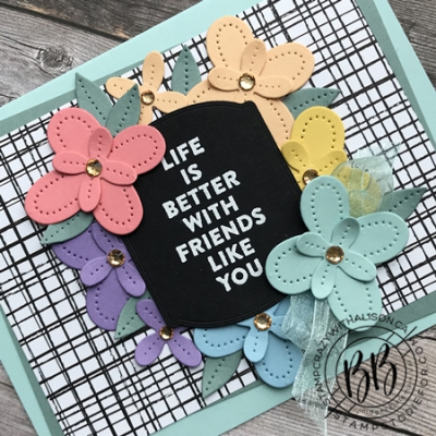 Just in CASE (copy and selectively edit) series card using the Flowers of Friendship stamp set and Pierced Blooms & Tateful Labels Dies by Stampin' Up!