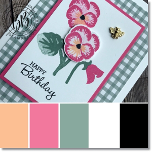 Border Buddy Monthly Free PDF Tutorial featuring the Pansy Petals Suite by Stampin' Up! Pansy Patch Stamp Set color palette